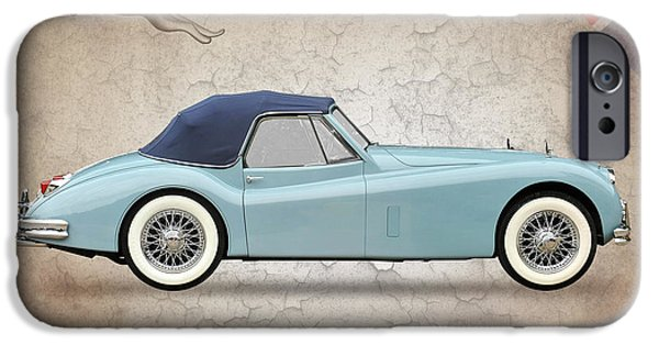 Vintage Car iPhone Cases - Jaguar XK140 iPhone Case by Mark Rogan