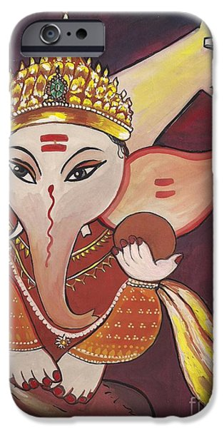 Jewelry Greeting Cards iPhone Cases - Jai Ganesha iPhone Case by Artist Nandika  Dutt