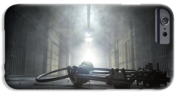 Manifestations iPhone Cases - Jail Corridor And Keys iPhone Case by Allan Swart