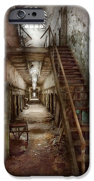 Police Art iPhone Cases - Jail - Eastern State Penitentiary - Down a lonely corridor iPhone Case by Mike Savad
