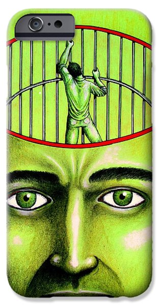 Fears Psychic iPhone Cases - Jailer Of The Your Own Prison iPhone Case by Paulo Zerbato