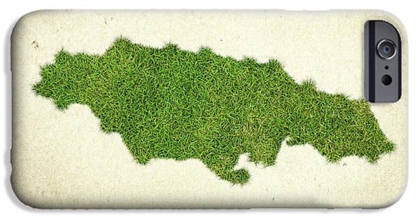 Catherine iPhone Cases - Jamaica Grass Map iPhone Case by Aged Pixel