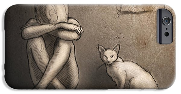 Beautiful Cat Drawings iPhone Cases - Jaimie and Ghost iPhone Case by H James Hoff