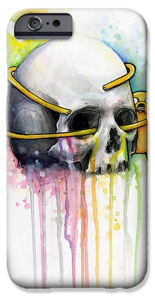 Adventure iPhone Cases - Jake the Dog Hugging Skull Adventure Time Art iPhone Case by Olga Shvartsur