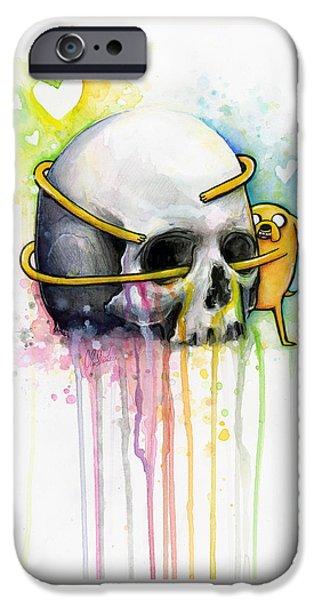 Child iPhone Cases - Jake the Dog Hugging Skull Adventure Time Art iPhone Case by Olga Shvartsur