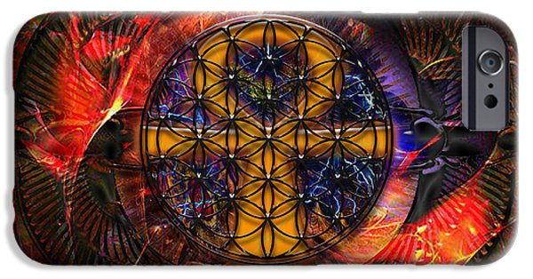 Flower Of Life Digital Art iPhone Cases - Jaliel iPhone Case by Mynzah Osiris