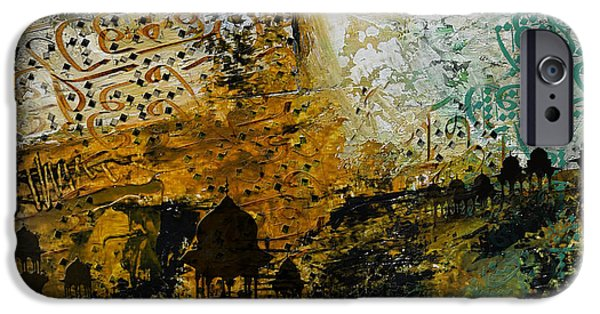 Abstract On Canvas Paintings iPhone Cases - Jama Masjid iPhone Case by Corporate Art Task Force