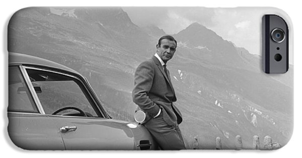 Vintage Cars iPhone Cases - James Bond and his Aston Martin iPhone Case by Nomad Art And  Design
