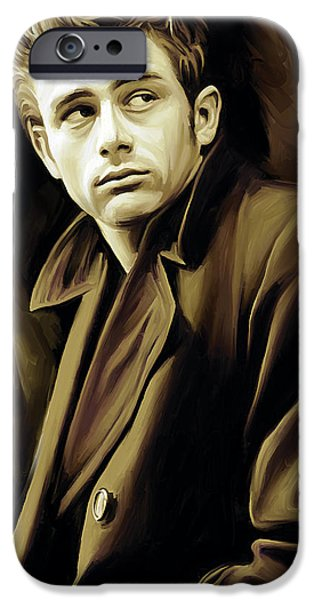 Celebrities Portrait iPhone Cases - James Dean Artwork iPhone Case by Sheraz A