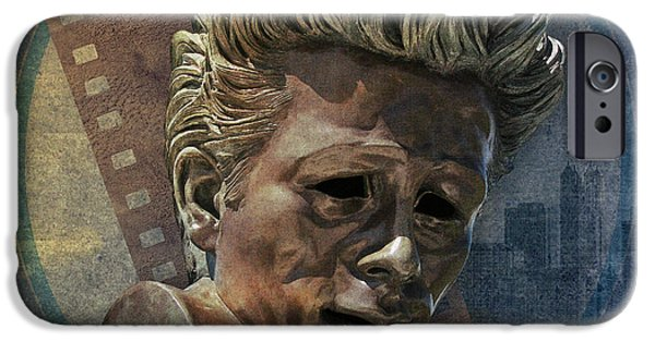 Statue Portrait Mixed Media iPhone Cases - James Dean iPhone Case by Bedros Awak