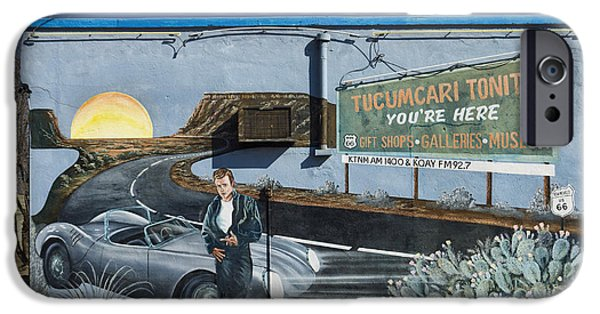 Mural Photographs iPhone Cases - James Dean Mural in Tucumcari on Route 66 iPhone Case by Carol Leigh