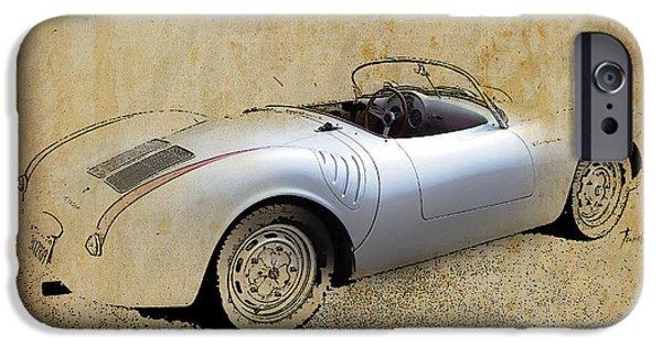James Dean iPhone Cases - James Dean Porsche 550 Spyder iPhone Case by Pablo Franchi