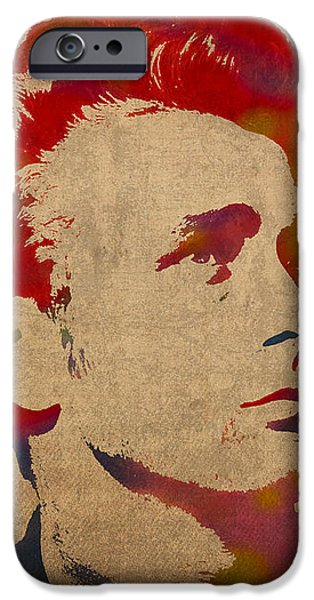 Dean iPhone Cases - James Dean Watercolor Portrait On Worn Distressed Canvas iPhone Case by Design Turnpike