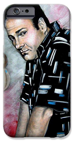 James Gandolfini iPhone Cases - James Gandolfini as Tony Soprano iPhone Case by Patrice Torrillo