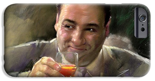 Soprano iPhone Cases - James Gandolfini iPhone Case by Viola El