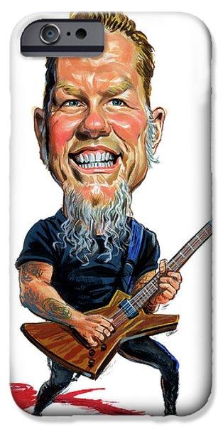 Metallica Paintings iPhone Cases - James Hetfield iPhone Case by Art