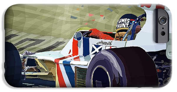Automotive iPhone Cases - James Hunt 1975 Hesketh 308B iPhone Case by Yuriy Shevchuk