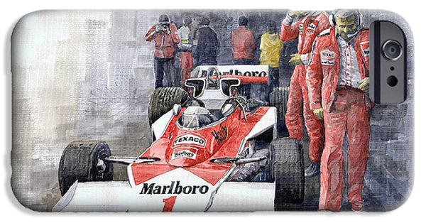 Racing iPhone Cases - James Hunt Monaco GP 1977 McLaren M23 iPhone Case by Yuriy Shevchuk