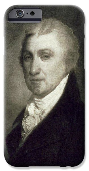 White House Paintings iPhone Cases - James Monroe iPhone Case by American School