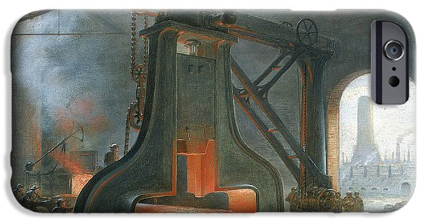 Hammer Paintings iPhone Cases - James Nasmyths steam hammer iPhone Case by James Nasmyth