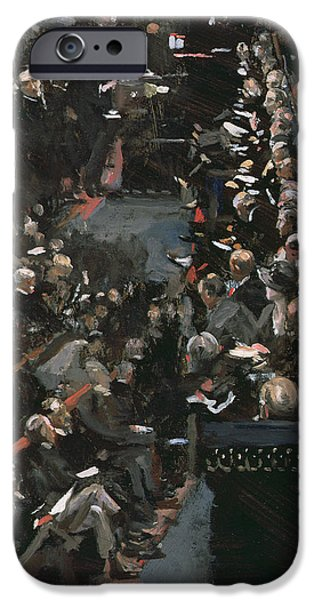 Politician Photographs iPhone Cases - James Ramsay Macdonald Addressing The House Of Commons Oil On Panel iPhone Case by Sir John Lavery