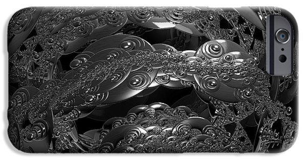 Abstract Digital iPhone Cases - Jammer Silver City Planet iPhone Case by First Star Art