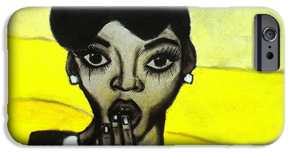 Celebrities Art Pastels iPhone Cases - Janelle iPhone Case by Tarra Louis-Charles