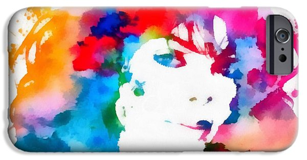 Jackson 5 iPhone Cases - Janet Jackson Watercolor Paint Splatter iPhone Case by Dan Sproul