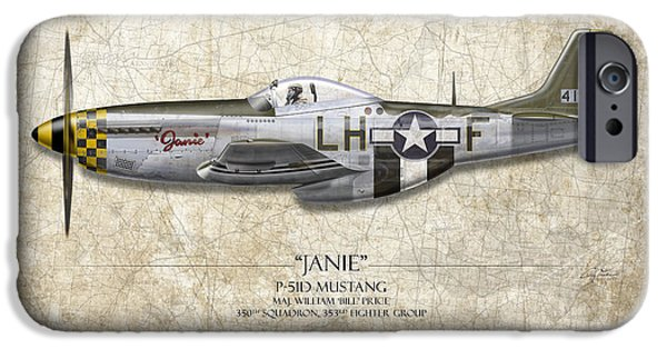 Nose Digital Art iPhone Cases - Janie P-51D Mustang - Map Background iPhone Case by Craig Tinder