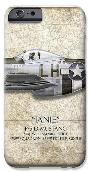 Janie P-51D Mustang - Map Background iPhone Case by Craig Tinder
