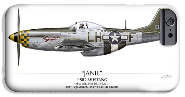 P-51 iPhone Cases - Janie P-51D Mustang - White Background iPhone Case by Craig Tinder