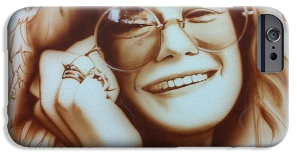 Musician Art iPhone Cases - Janis iPhone Case by Christian Chapman Art
