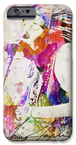 Autographed iPhone Cases - Janis Joplin Portrait iPhone Case by Aged Pixel