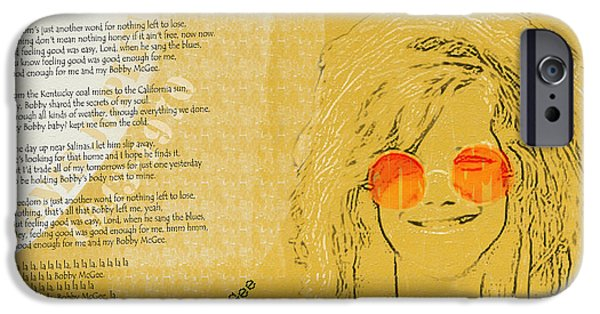 Child iPhone Cases - Janis Joplin Song Lyrics Bobby McGee iPhone Case by Nola Lee Kelsey