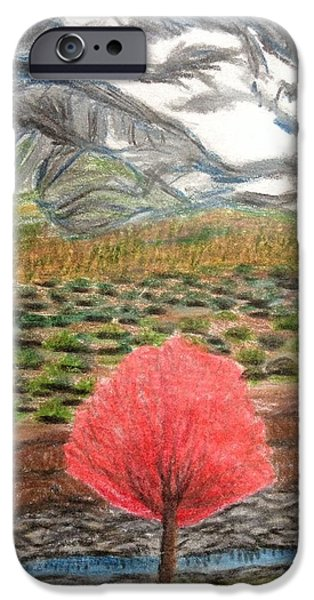 Snow-covered Landscape Drawings iPhone Cases - January Bloom iPhone Case by Christine Degyansky