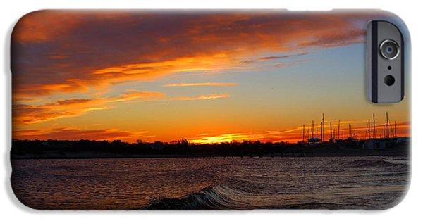 Harbor Sesuit Harbor iPhone Cases - January Heat Sunrise iPhone Case by Dianne Cowen