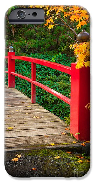 Pathway iPhone Cases - Japanese Bridge iPhone Case by Inge Johnsson