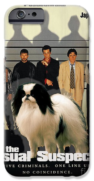 Japanese Chin iPhone Cases - Japanese Chin Art Canvas Print - The Usual Suspects Movie Poster iPhone Case by Sandra Sij