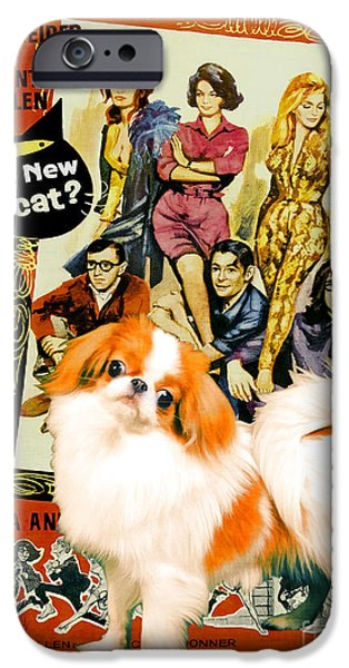 Japanese Chin iPhone Cases - Japanese Chin Art Canvas Print - Whats New Pussycat Movie Poster iPhone Case by Sandra Sij