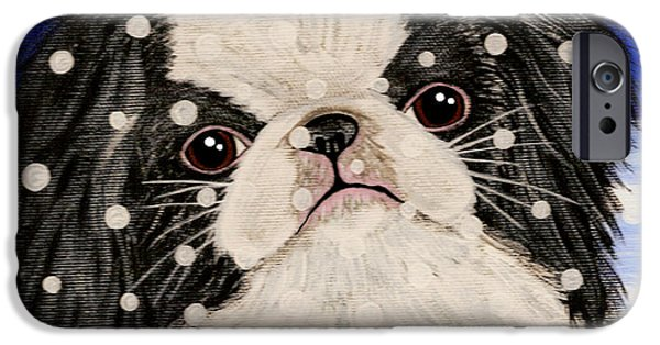 Japanese Chin iPhone Cases - Japanese Chin in Snow iPhone Case by Karen Howell