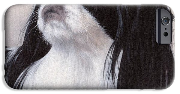 Japanese Chin iPhone Cases - Japanese Chin Painting iPhone Case by Rachel Stribbling