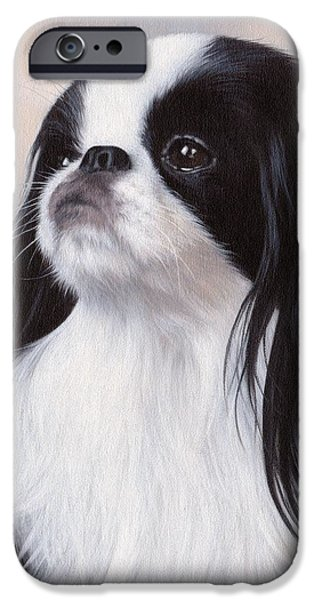 Small Dogs iPhone Cases - Japanese Chin Painting iPhone Case by Rachel Stribbling