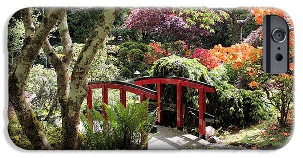 Garden iPhone Cases - Japanese Garden Bridge with Rhododendrons iPhone Case by Carol Groenen