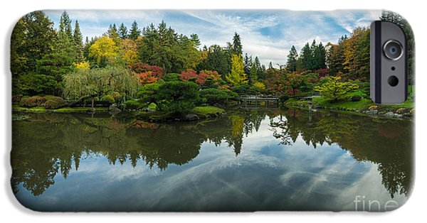 Japanese Garden iPhone Cases - Japanese Garden Fall Colors Seattle Panorama iPhone Case by Mike Reid