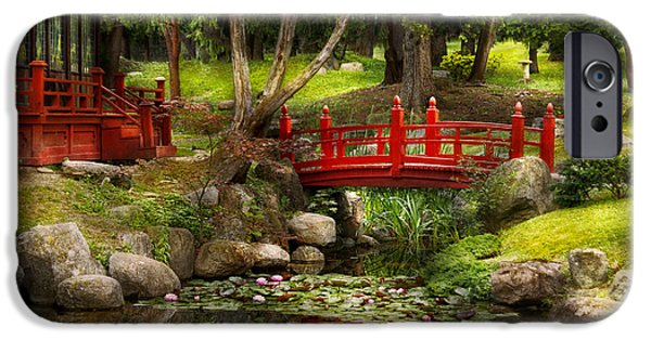 Garden Scene Photographs iPhone Cases - Japanese Garden - Meditation iPhone Case by Mike Savad