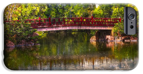 China Beach iPhone Cases - Japanese Gardens Bridge iPhone Case by Debra and Dave Vanderlaan