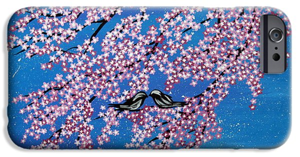 Catherine White Paintings iPhone Cases - Japanese Joy iPhone Case by Cathy Jacobs