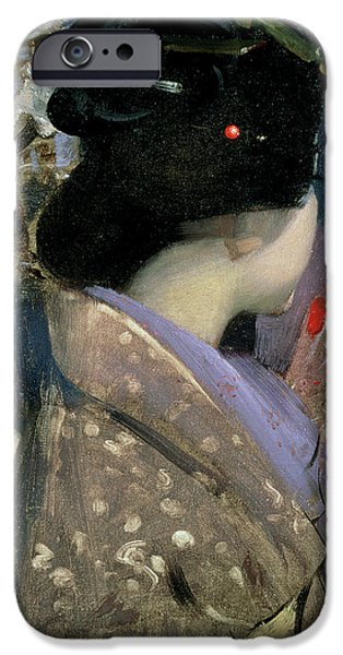 Portraits Female Paintings iPhone Cases - Japanese Lady with a Fan iPhone Case by George F Henry