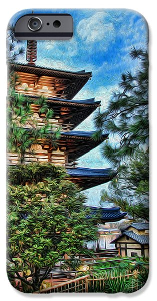 Horyu-ji iPhone Cases - Japanese Pagoda II iPhone Case by Lee Dos Santos