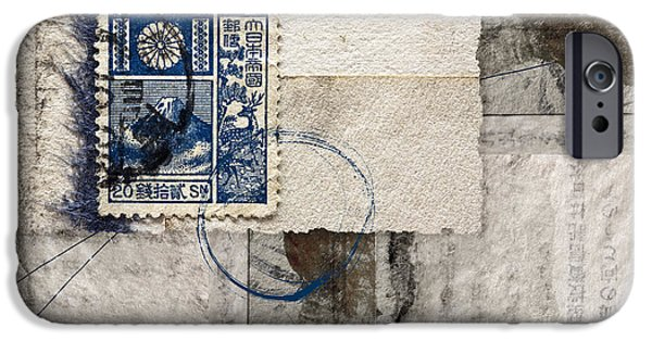 Torn iPhone Cases - Japanese Postage 20 Sen iPhone Case by Carol Leigh